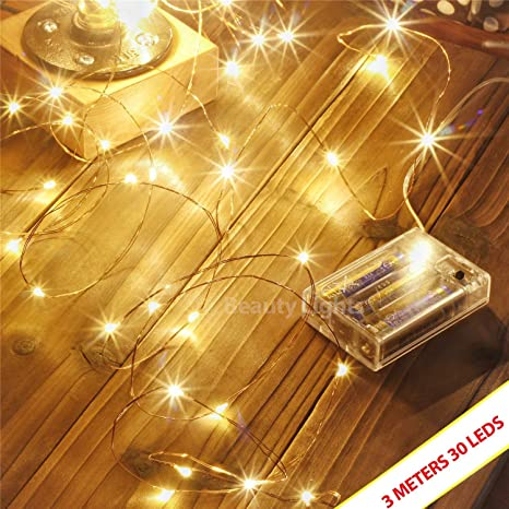 Portable Christmas Lights.Miradh Copper String Lights 3 Aa Battery Operated Portable Led Lights Decoration Party Wedding Diwali Christmas Lights 3 Meters 30 Led