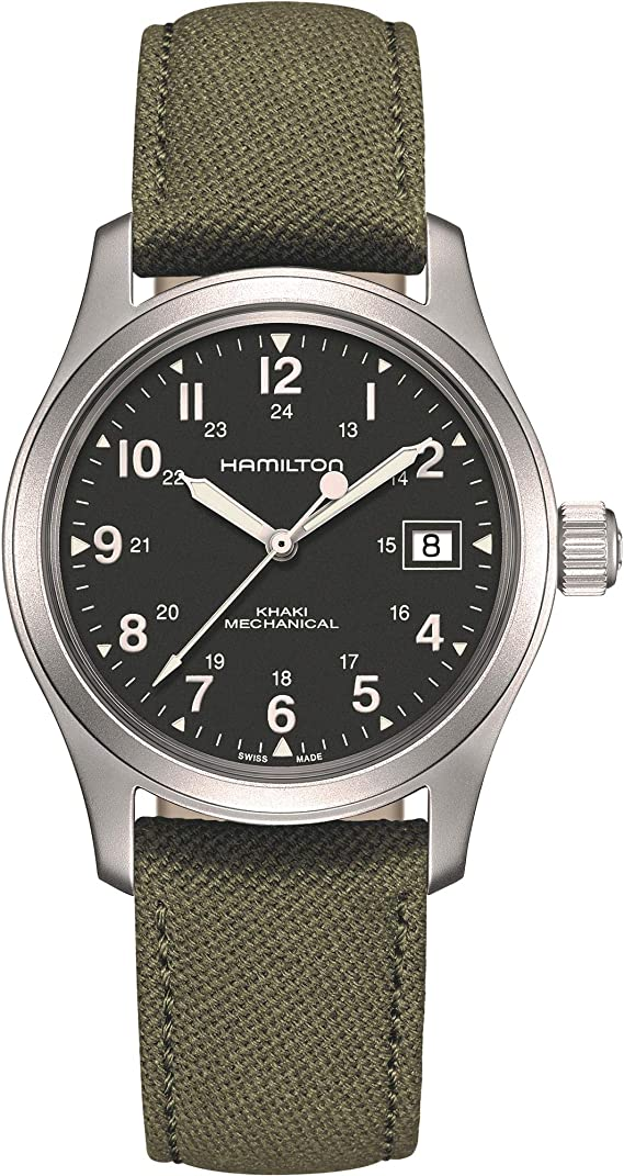 Hamilton Khaki Green Field Officer Mechanical Mens Watch H69439363 38mm Mens Watches