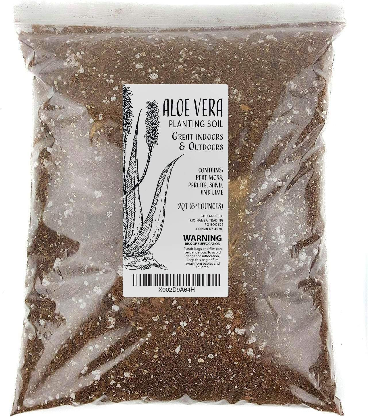 Aloe Vera Soil Blend, Hand Blended Aloe Vera and Succulent Soil Mix, Re-Pots 3-4 Small Plants or 1-2 Medium Plants, All Natural (2qts)