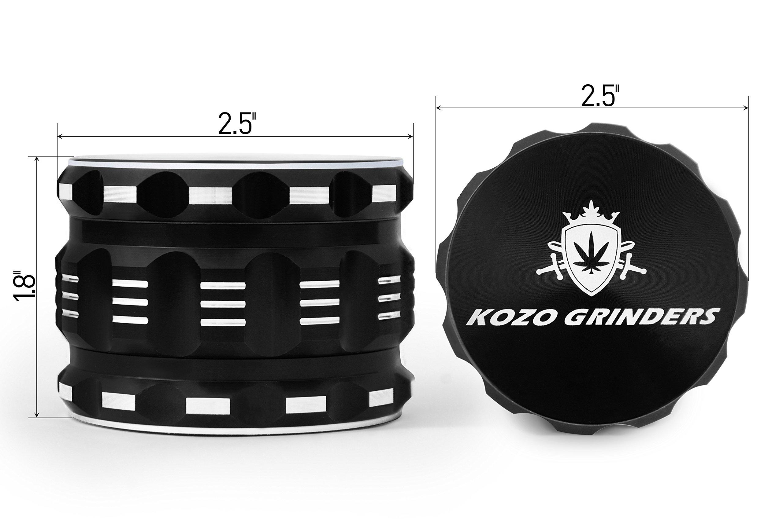 [Upgraded Version] Best Herb Grinder By Kozo Grinders. Large 4 Piece, 2.5'' Black Aluminium by Kozo Grinders (Image #2)