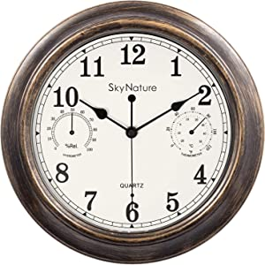 Vintage Wall Clock, Indoor/Outdoor Metal Clock with Thermometer and Hygrometer Combo, Silent Non-Ticking Battery Operated Decor Clock for Home, Living Room, Kitchen, Garden, Den - 12 Inch, Bronze