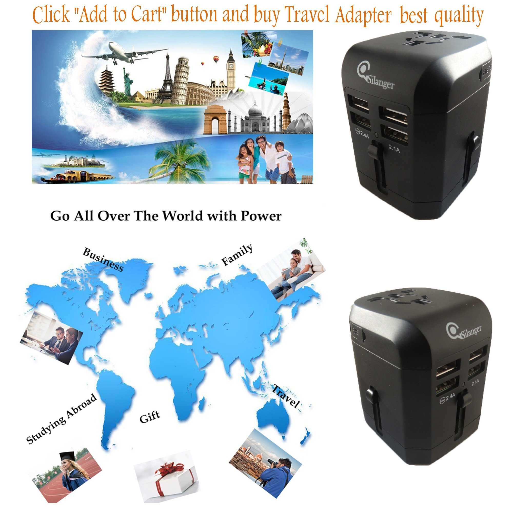 Universal USB Travel Power Adapter-Silanger All In One Wall Charger AC Power Plug Adapter For USA EU UK AUS Cell Phone Laptop Including Quad 3.5A Smart Power USB Charging Port (4X USB) by Silanger (Image #8)
