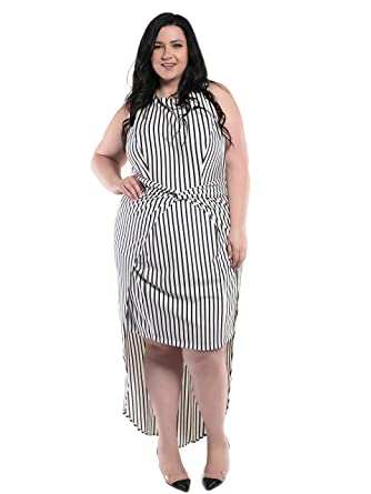 Astra Signature Womens Plus Size Roman High Low Striped Dress At