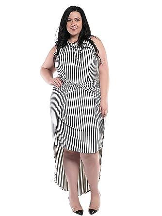08fd57d052a Astra Signature Women s Plus Size Roman High Low Striped Dress ...