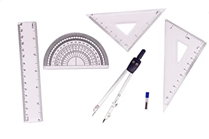 Protractor Triangle BronaGrand 4pcs Math Geometry Tool Plastic Clear Ruler Sets