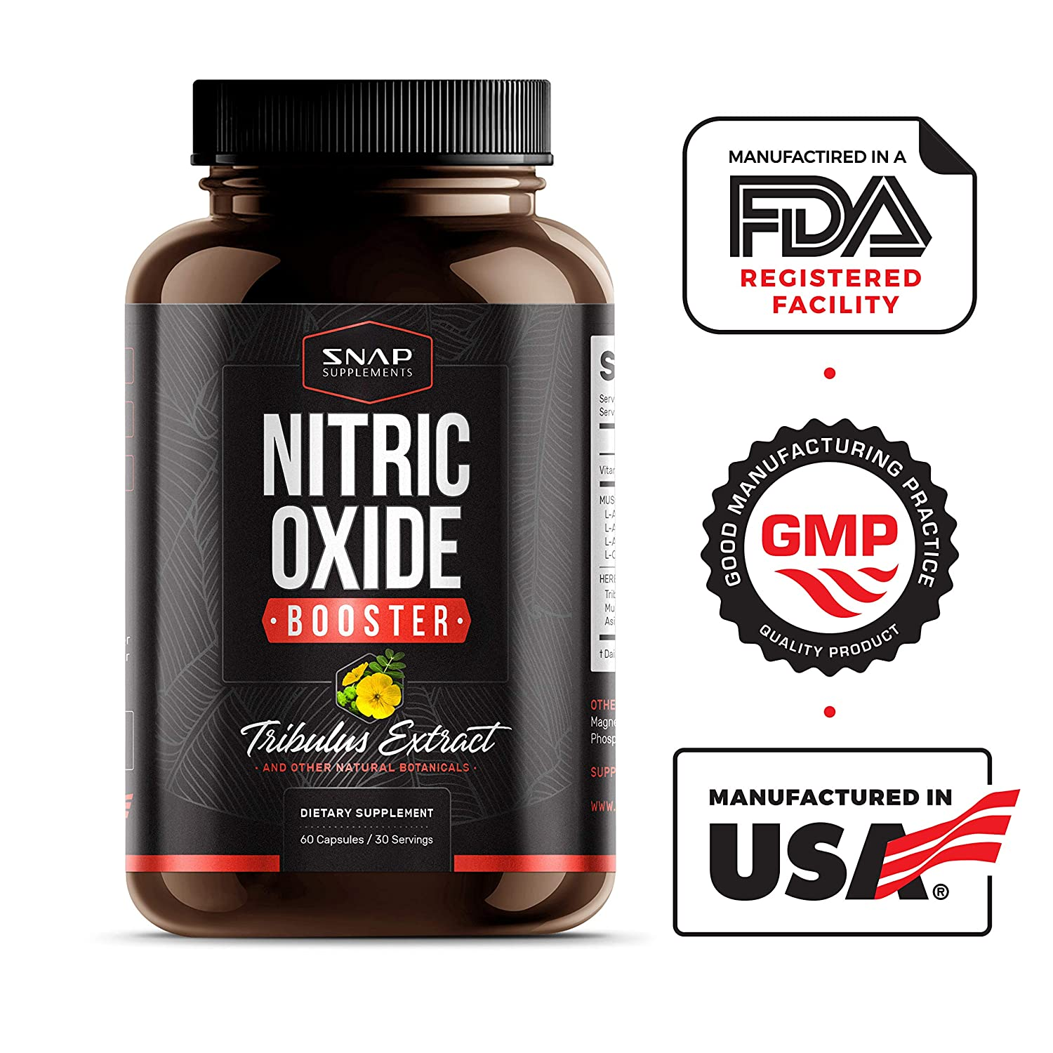 Snap Nitric Oxide Supplements - L Arginine, L Citrulline ...