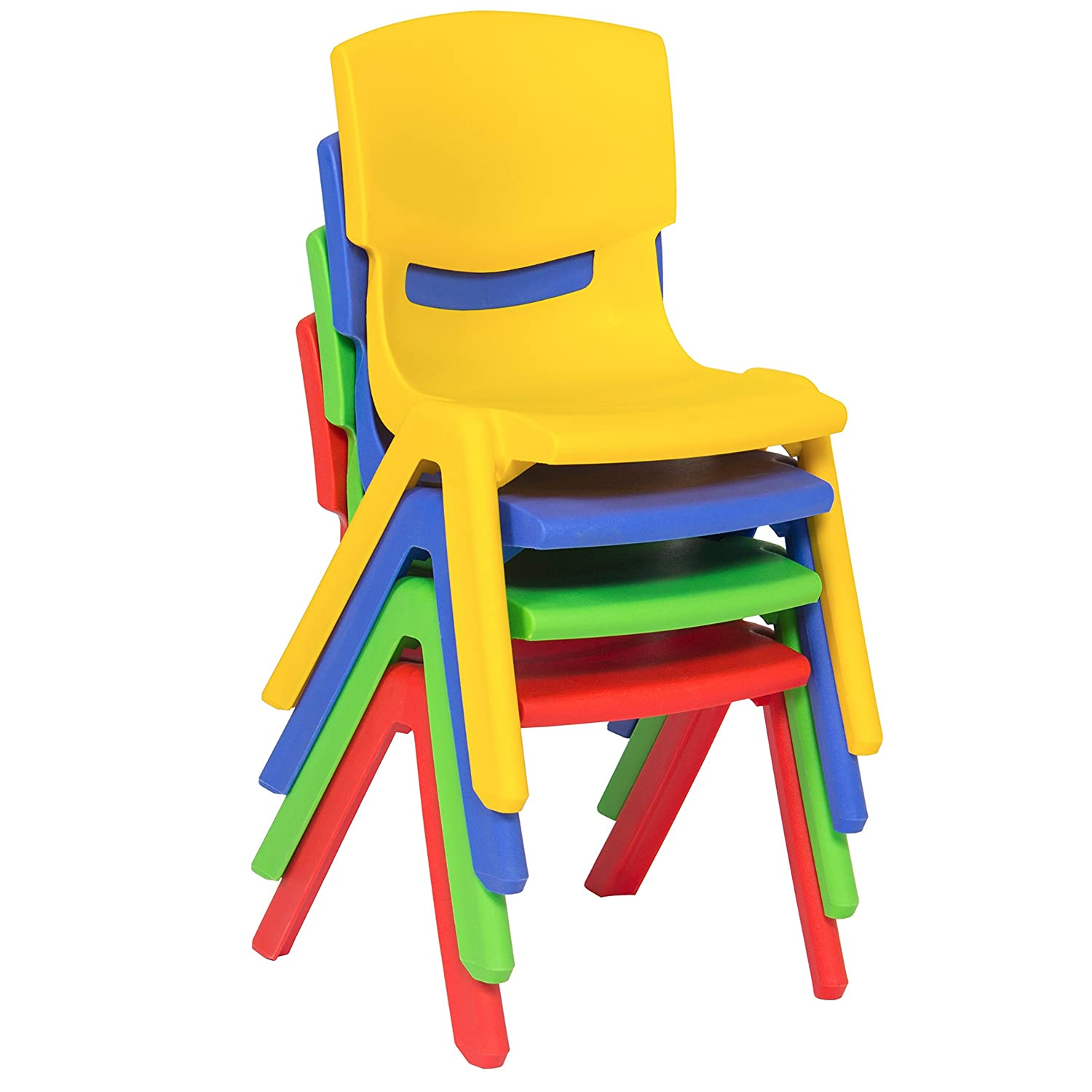 Amazon.com: Best Choice Products Multicolored Kids Plastic Table And 4  Chairs Set Colorful Furniture Play Fun School Home: Home U0026 Kitchen