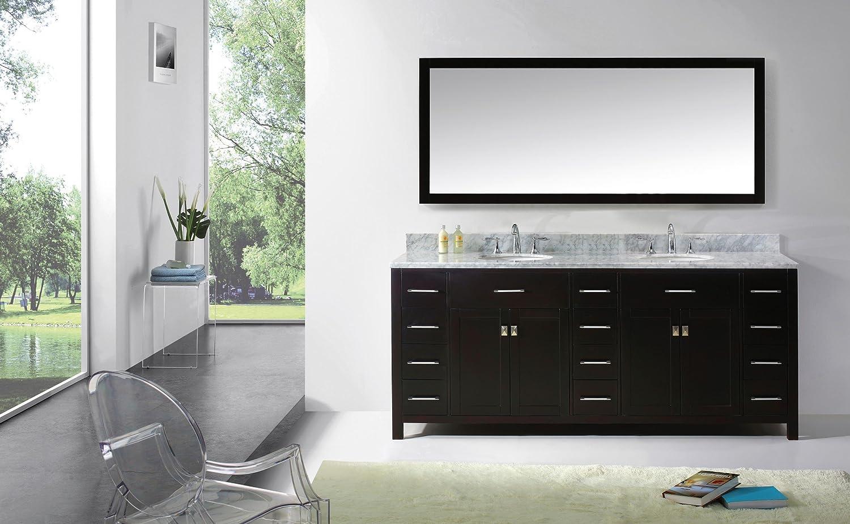 Virtu USA MD 2178 WMRO ES Transitional 78 Inch Double Sink Bathroom Vanity  Set, Espresso   Vanity Sinks   Amazon.com