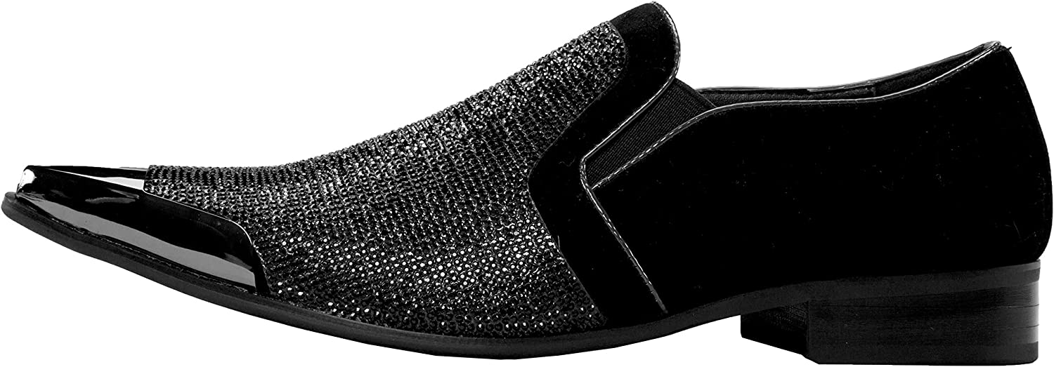 Bolano Rhinestone Crystal Stones Loafer Velvet Trimmed with Silver or Gold Reflective Metallic Tip Smoking Shoe Runs Small Size 1//2 Size UP Style Dezzy