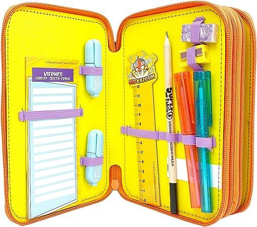 SUPERZINGS Estuche Triple-Kit Completo Material Escolar, Multicolor (Cife 41940): Amazon.es: Juguetes y juegos