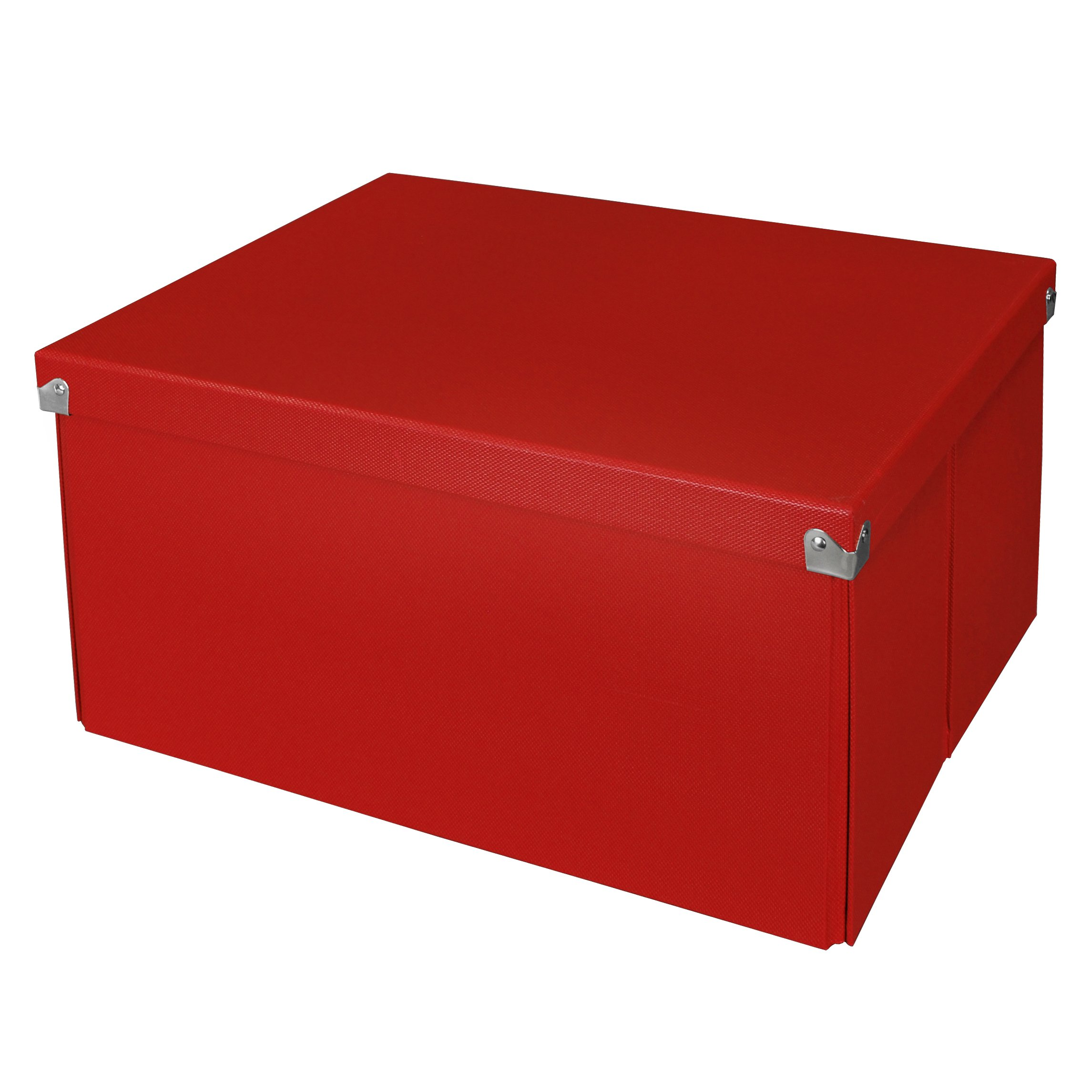 Pop n' Store Decorative Storage Box with Lid - Collapsible and Stackable - Large Mega Box - Red - Interior Size (14.625''x11.875''x8'')