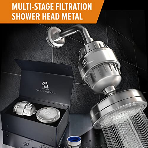Luxury Filtered Shower Head Set (Metal) Cartridge Vitamin C + Multi-Stage Shower Water Filter