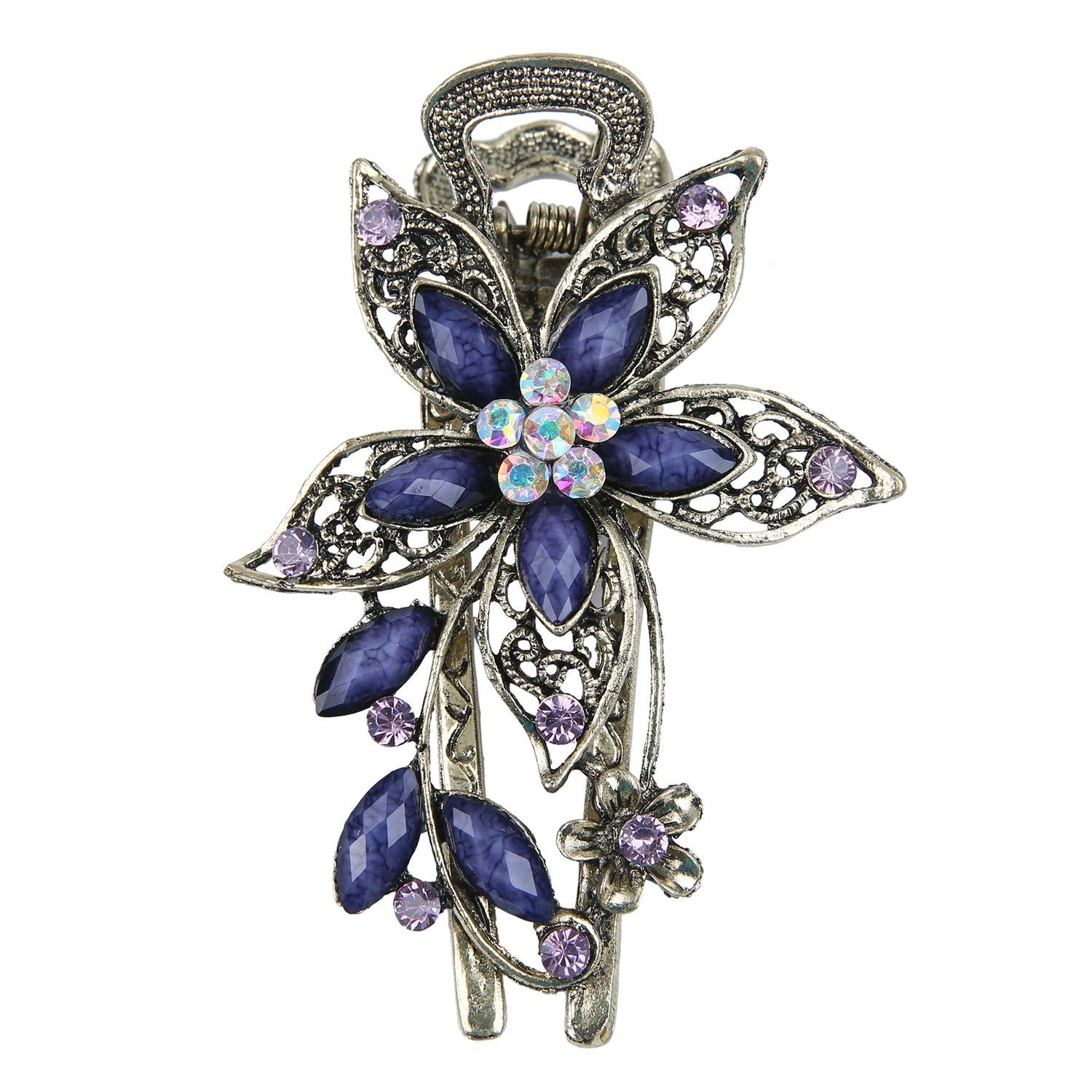 Butterfly hair accessories for weddings uk - Niceeshop Tm Vintage Jewelry Beautiful Charm Flower Crystal Rhinestone Hair Clips Hair Pins Antique Bronze Purple