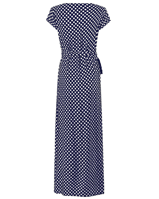 5164fff28 ACHIOOWA Mujer Vestido Elegante Casual Playa Bohemio Dress Lunares Cuello V Manga  Corta Escote Fiesta Cóctel Falda Larga  Amazon.es  Ropa y accesorios
