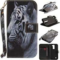 Cozy Hut LG K7/LG K8 Hülle, LG K7/LG K8 Leder Hülle, Ledertasche mit [Kartenfach] [Standfunktion] [Magnetverschluss] Schutzhülle für LG K7/LG K8 - White Tiger