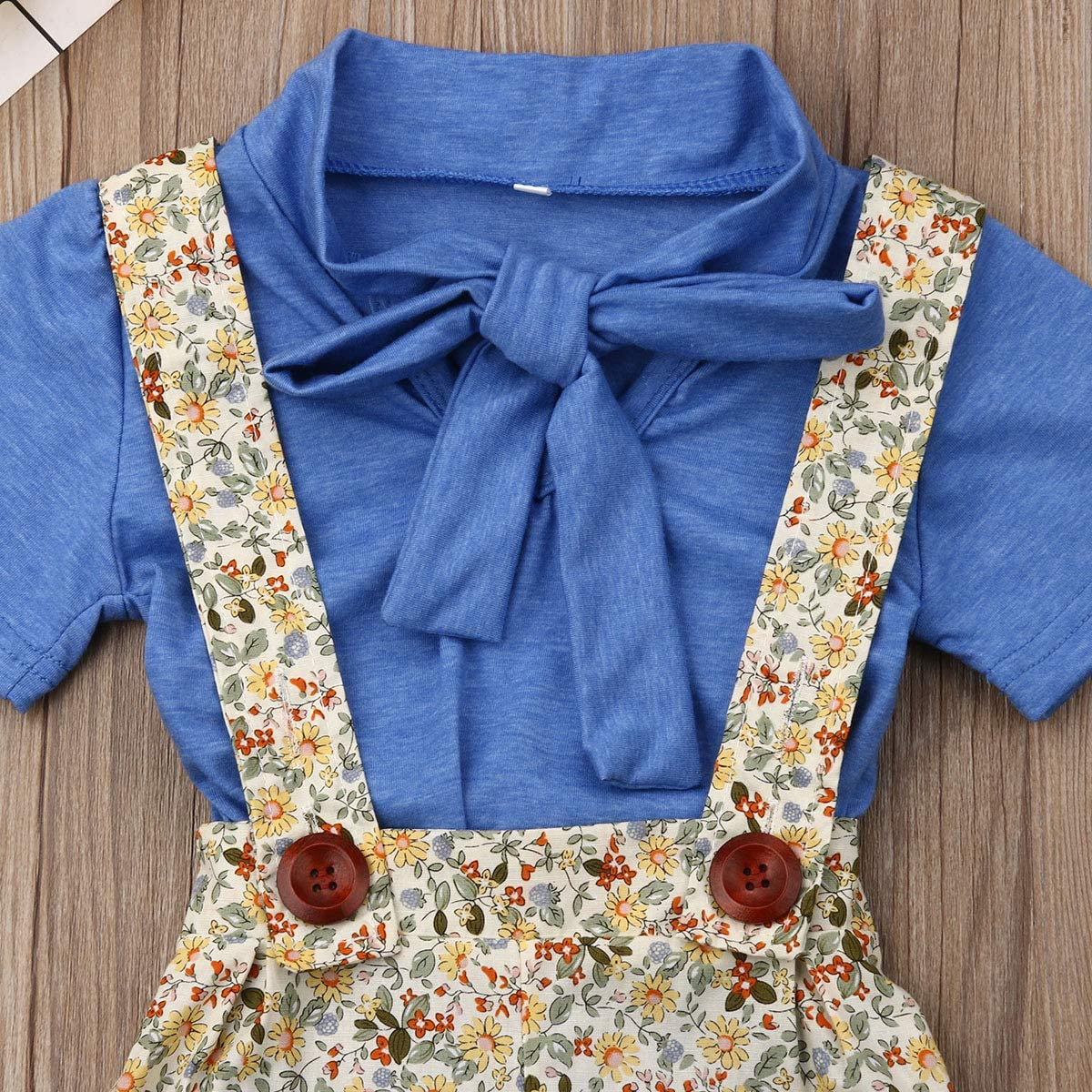 Baby Girls Suspenders Shorts Set Short Sleeve Bowknot Shirts Tops Flowers Short Overalls Summer Outfits