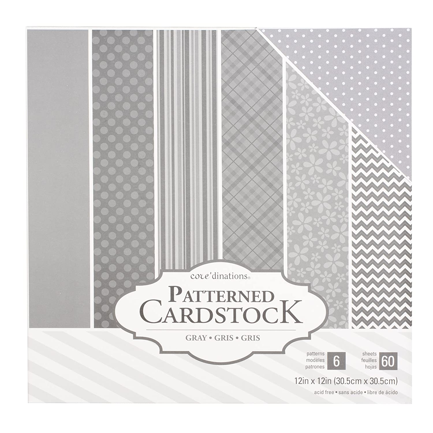 American Crafts Coredinations Cardstock 60 Sheet 12 x 12 Inch Paper Pack Grey