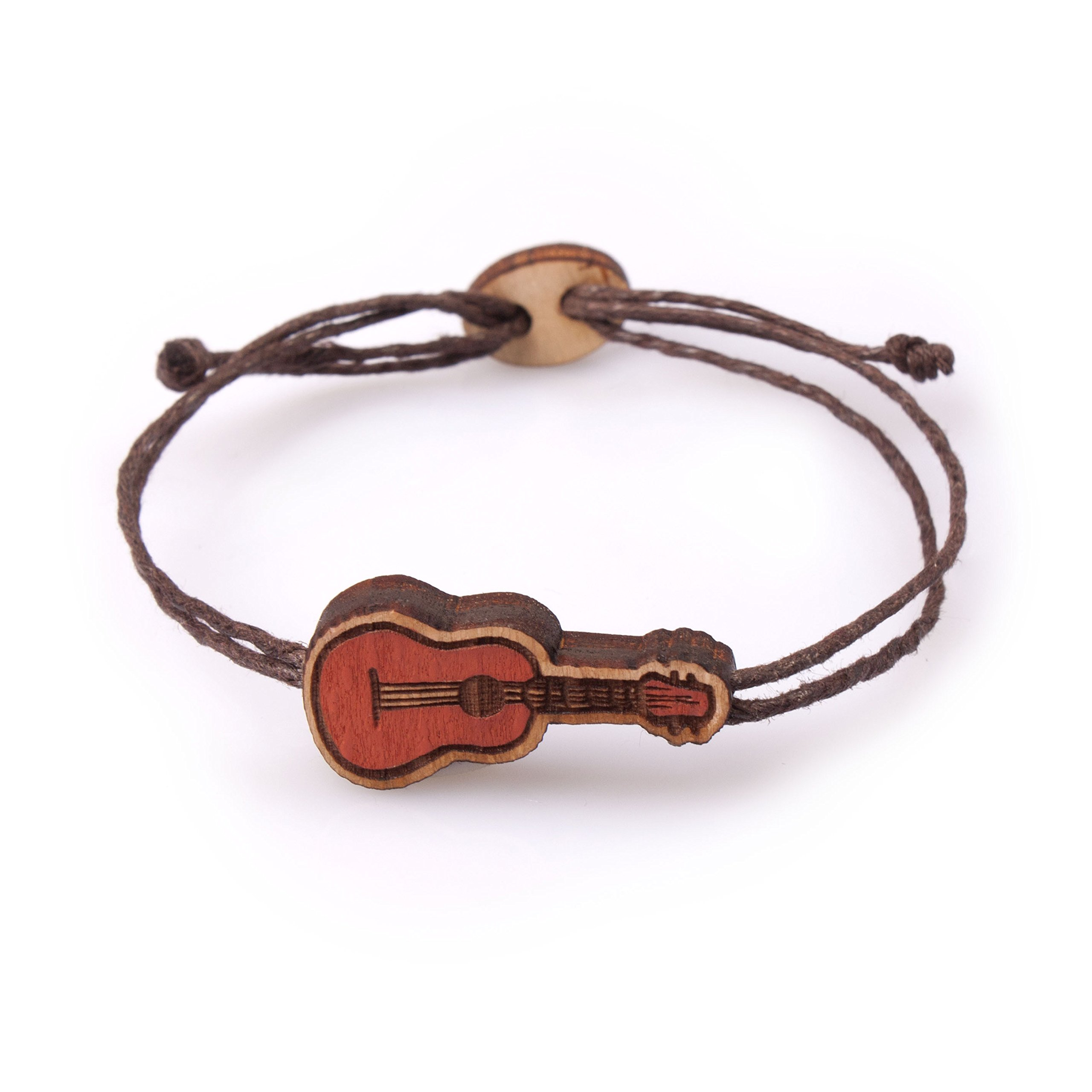 Men and Women Bracelet with Wooden Ukulele Hawaii Guitar on Brown Wax Cotton Cord Adjustable Size