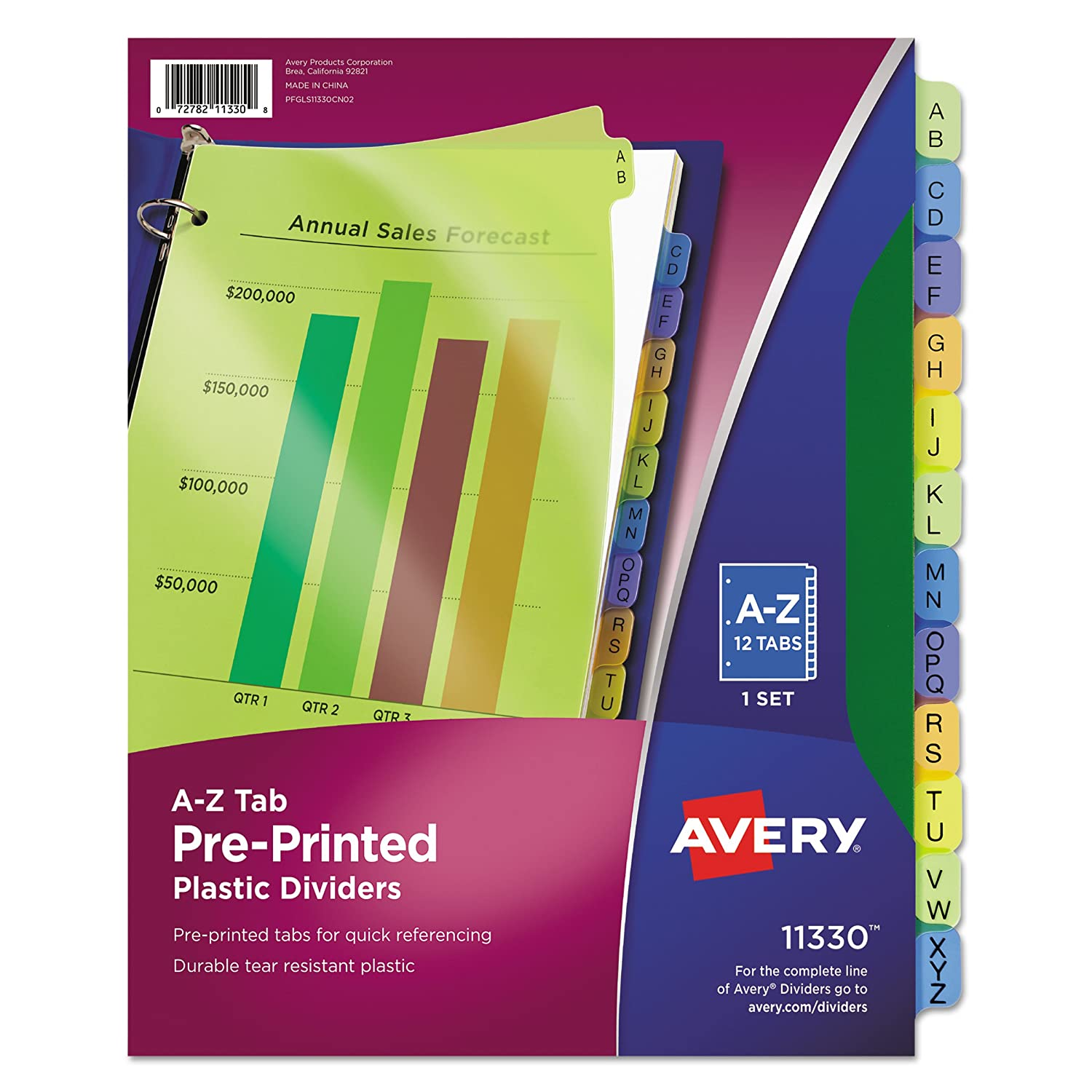 Avery Plastic Preprinted Tab Dividers, 8.5 x 11 Inches, A-Z Tab, Multi-Color Tab, 1 Set (11330)