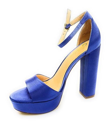 f6a8eea8127 Liliana Platform Basic Heel Open Toe Satin Ankle Strap Chunky Block Heel  Yuko-17 (