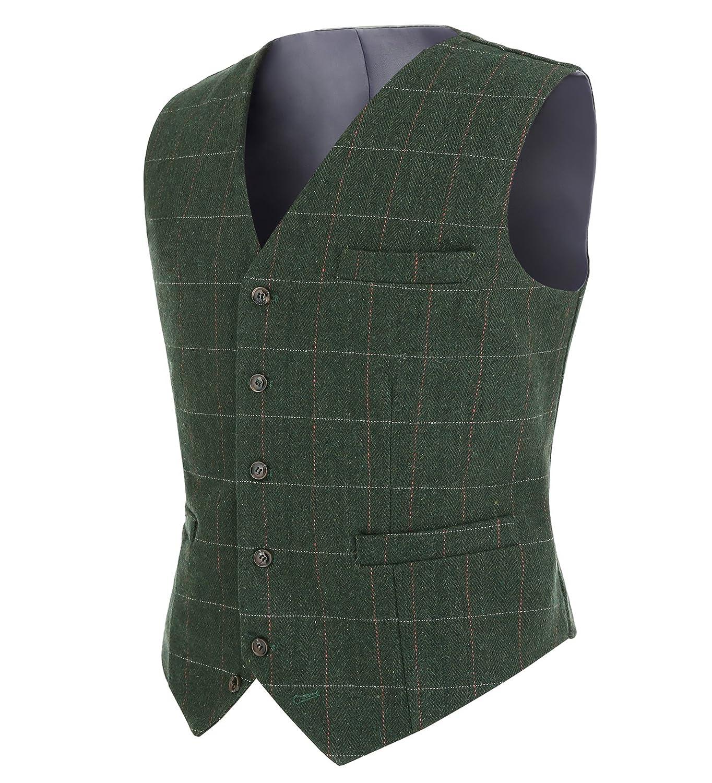 Solovedress Men's Casual Jacket Tux Vest Business Suit Vests Plaid Waistcoat ST004V