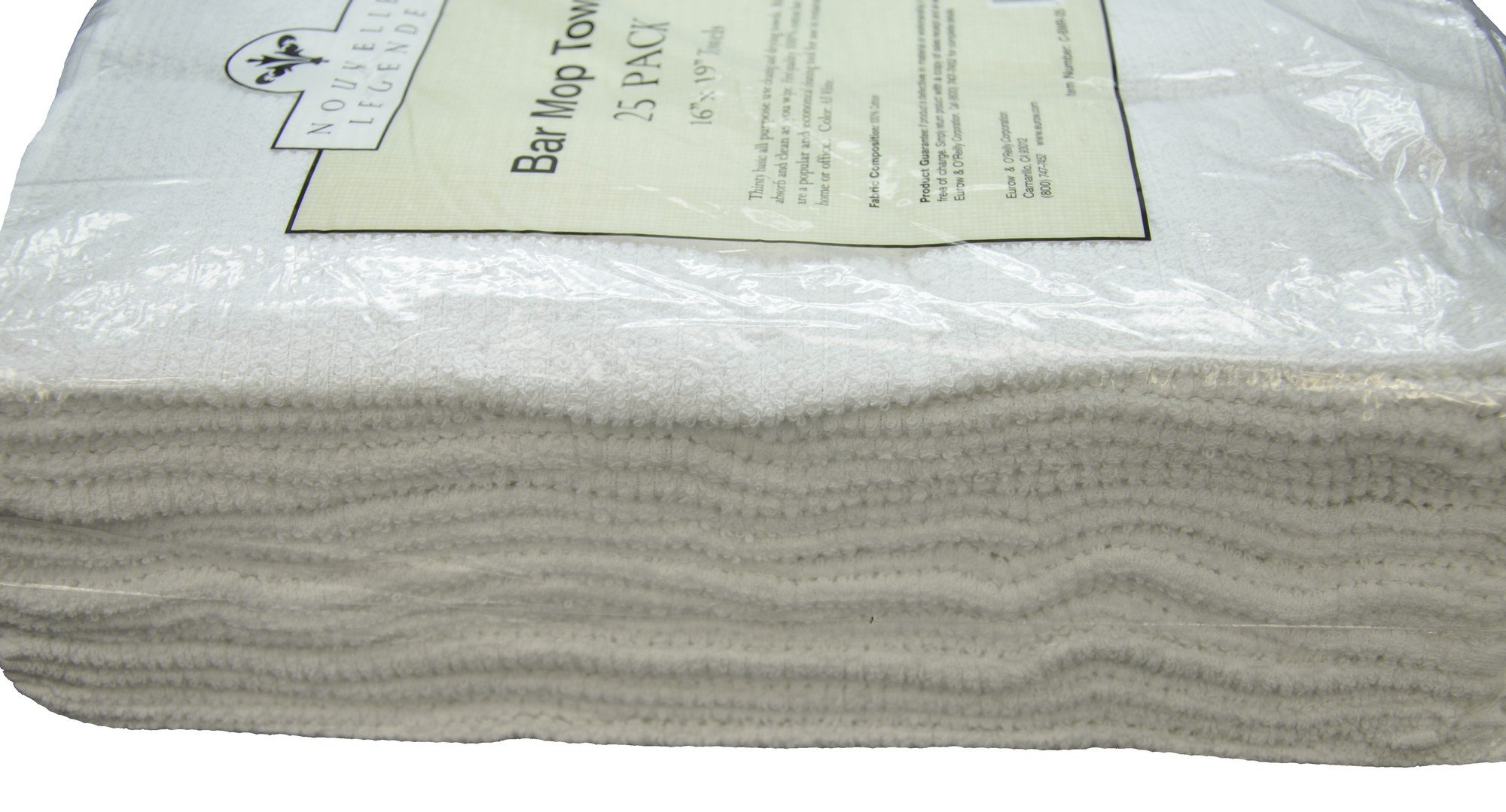 Nouvelle Legende Cotton Bar Mop Ribbed Towels Commercial Grade (25-Pack)