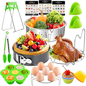 EPLST 18 Pieces Pressure Cooker Accessories Set Compatible with Instant Pot 6/8Qt - Steamer Basket, Springform Pan, Steamer Rack Trivet, Egg Bites Mold, Egg Rack, Kitchen Tongs, 3 Cheat, 6 Cake Cups