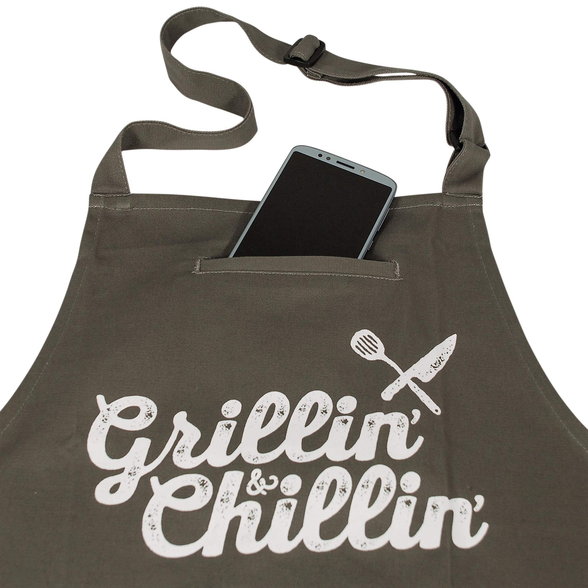 West End Warehouse Chef Apron for Men   Cooking Apron   Funny Apron   BBQ Apron   3 Pockets   Opener, Towel & Gift Box Included   Gray   100% Cotton   Durable Professional Quality by West End Warehouse (Image #5)