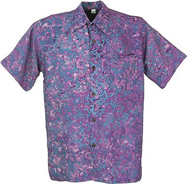 GURU-SHOP, Camisa Hippie, Camisa Hawai, Camisa Batik, Lila/Azul, Sintético, Tamaño:M, Camisas de Hombre: Amazon.es: Ropa y accesorios