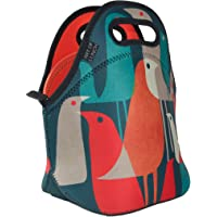 ART OF LUNCH Insulated Neoprene Lunch Bag for Women, Men and Kids - Reusable Soft Lunch Tote for Work and School - Design by Budi Kwan (Indonesia) - Flock of Birds