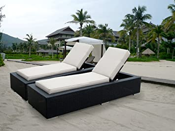 Ohana 2 Piece Outdoor Wicker Patio Furniture Chaise Lounge Set With Weather  Resistant Cushions,