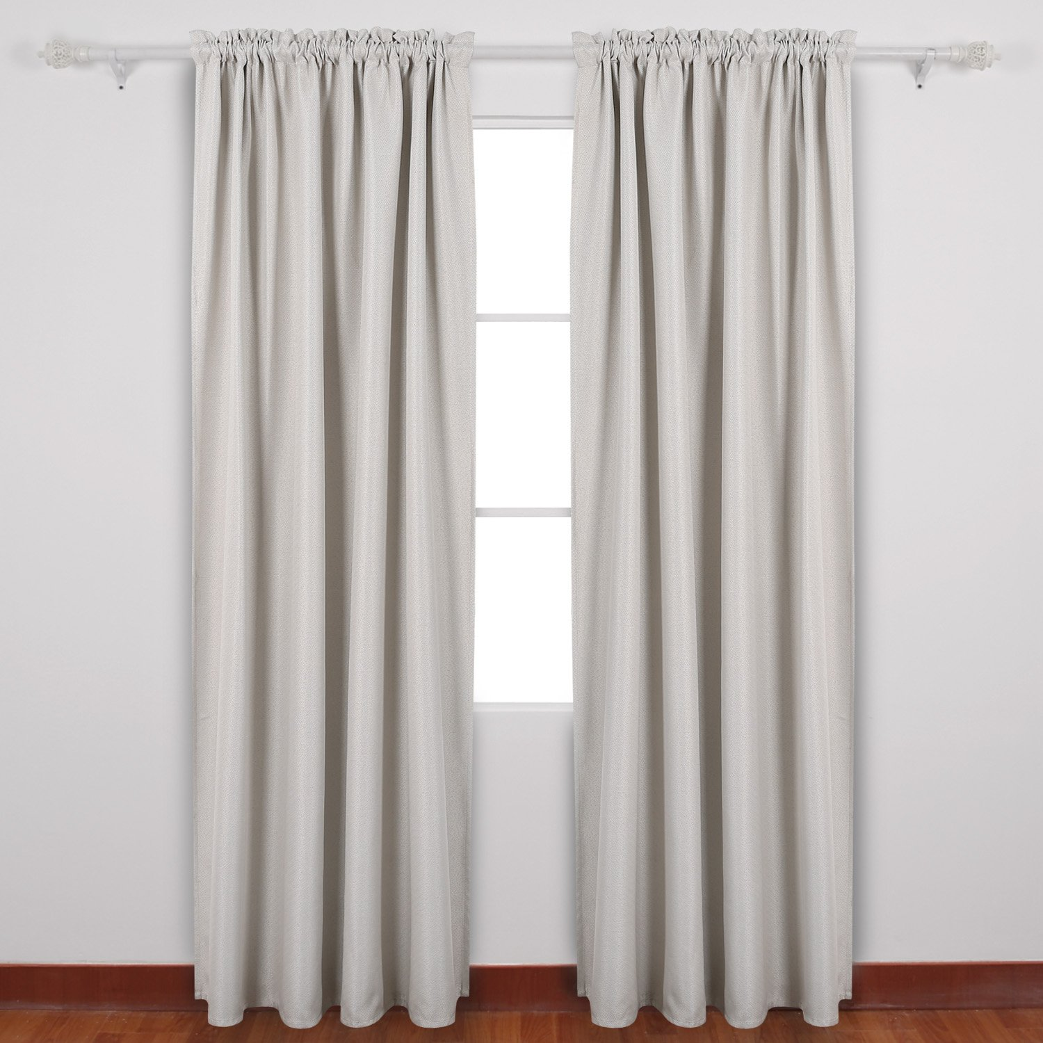 Beige Deconovo Solid Color Rod Pocket Curtains Faux Linen Curtains Thermal Insulated Room Darkening Curtains