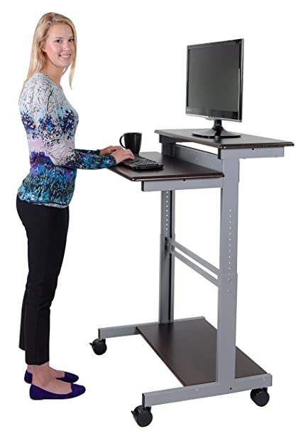 Amazoncom 32 Mobile Ergonomic Stand up Desk Computer Workstation