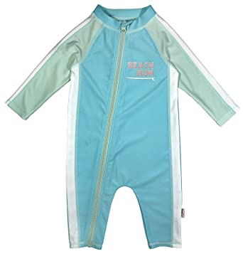 e36e9f9332 SwimZip Little Girl Long Sleeve Sunsuit with UPF 50 Sun Protection,Beachy  Bum,2T