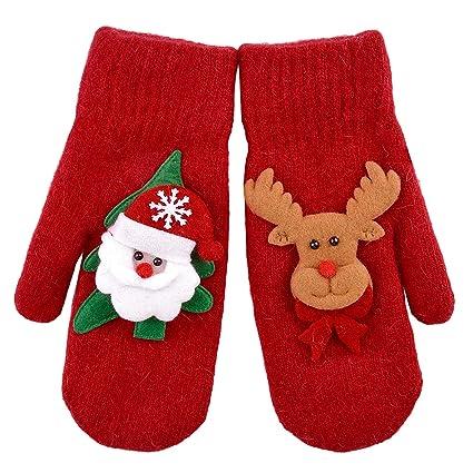 aniwon 1 pair christmas mittens 3d cartoon reindeer santa winter warm gloves for women girls - Christmas Mittens