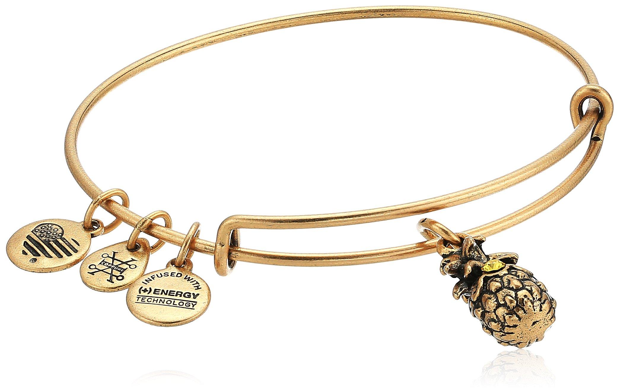 Alex and Ani Pineapple III Bangle Bracelet, Rafealian Gold, Expandable