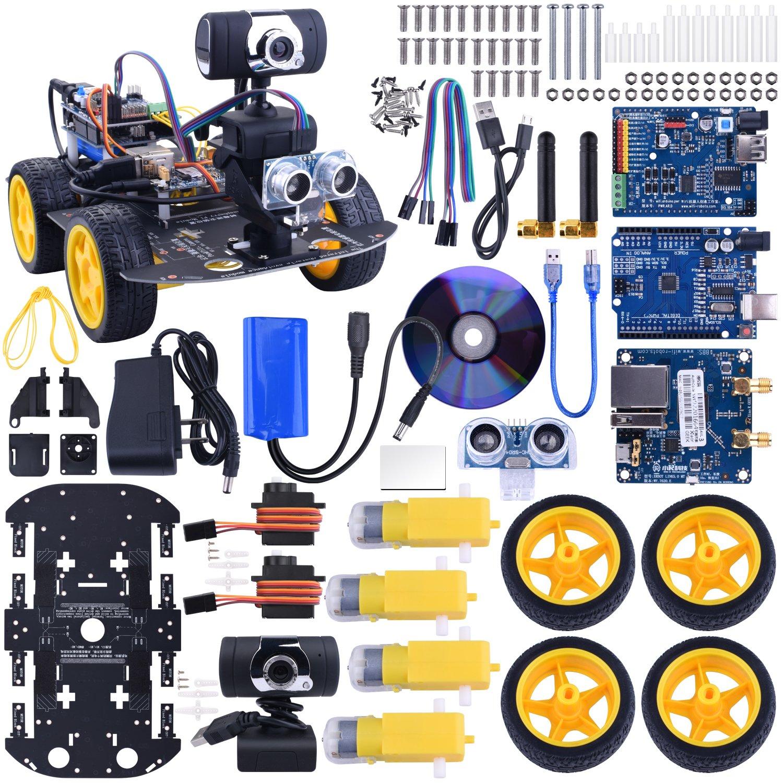 Kuman SM3 Wi-Fi Robot Car Kit for Arduino, 4 Wheel Utility Vehicle WiFi Intelligent Robotics arduino DS Robot HD Camera Wireless Robot Smart Car kit 7.4V (arduino Smart Robot car kit 4 Wheels) SM3-CA