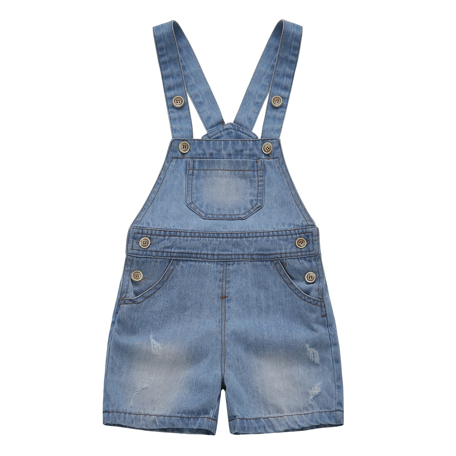 Kidscool Baby & Toddler Girls/Boys Big Bibs Ripped Summer Jeans Shortalls,Light Blue,4-5 Years