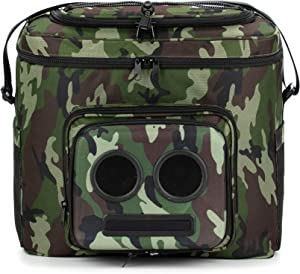 The #1 Cooler with Speakers on Amazon. 20-Watt Bluetooth Speakers & Subwoofer for Parties/Festivals/Boat/Beach. Rechargeable, Works with iPhone & Android (Camo, 2020 Edition)
