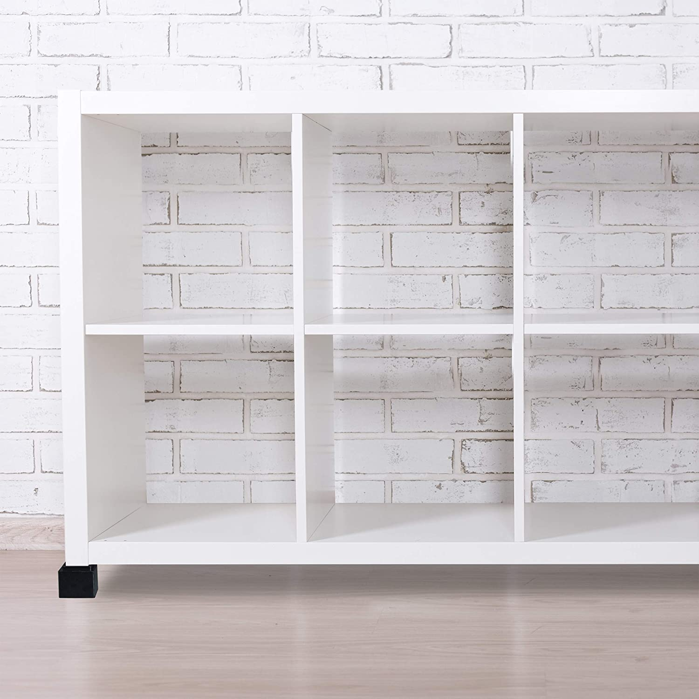 10x11,5x11,5 cm Alza Blanco Taco Muebles 8,5 cm Elevaci/ón Silla Relaxdays Set de 4 Elevadores Mesa Cama Bamb/ú