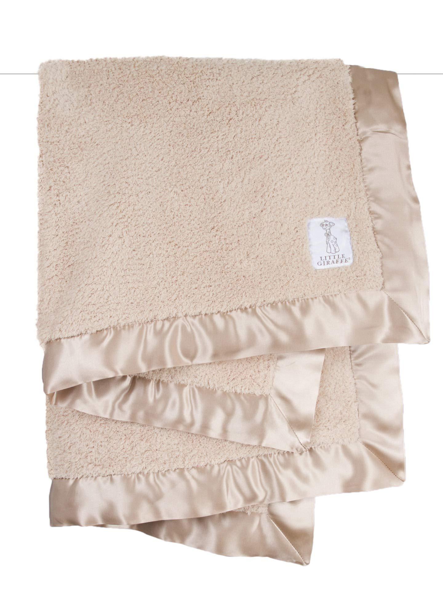 Little Giraffe Chenille Stroller Baby Blanket, Latte, 29'' x 35''