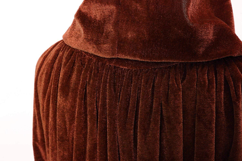 Mantello con Cappuccio Integrale Strega con Scialle in Velluto di Halloween per Feste in Costume Unisex Natale,Marrone,S