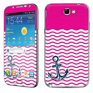 Samsung [Galaxy Note 2] Skin [NakedShield] Scratch Guard Vinyl Skin Decal [Full Body Edge] [Matching WallPaper] - [Nautical Anchor - Hot Pink] for Samsung Galaxy [Note 2]