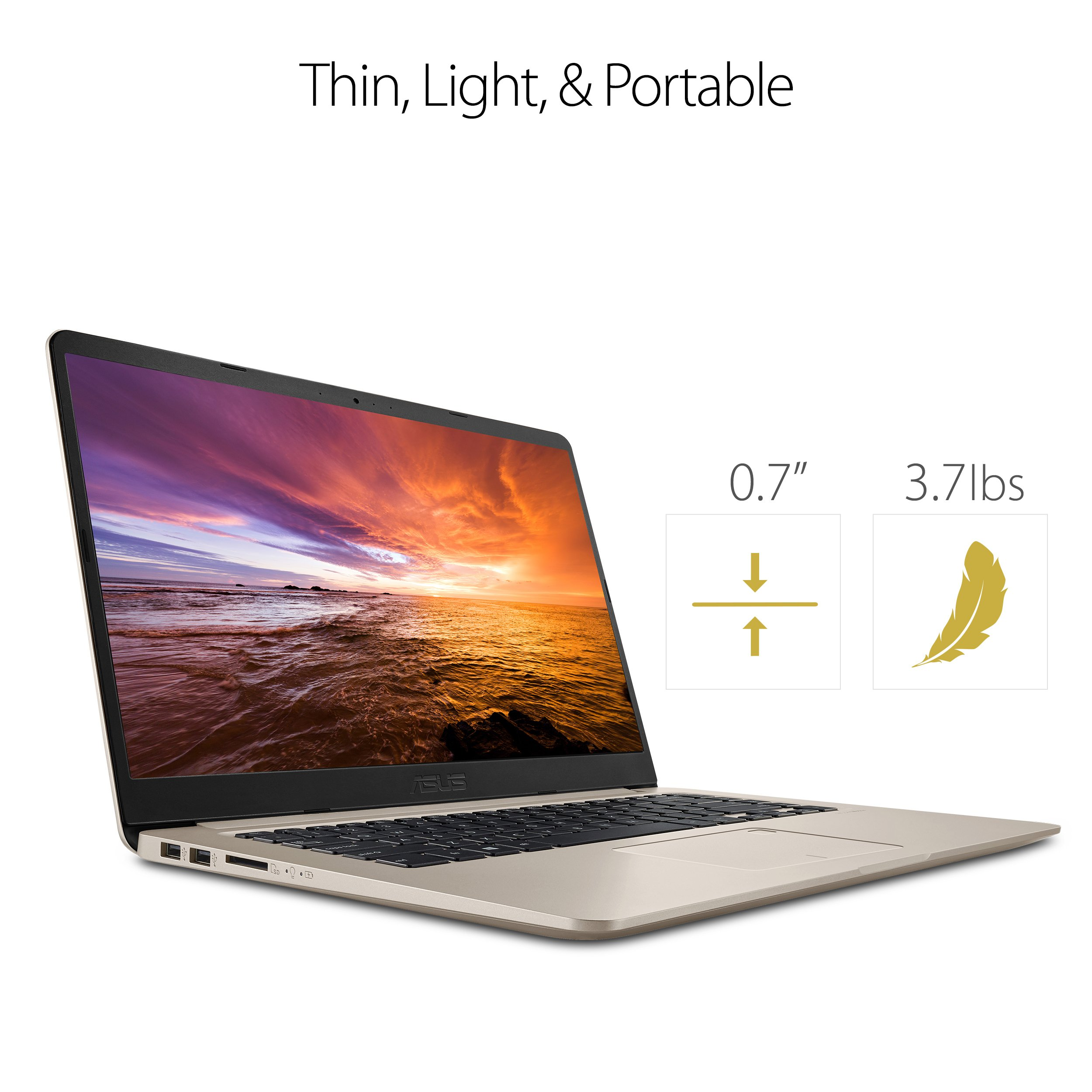 """ASUS VivoBook S Ultra Thin and Portable Laptop, Intel Core i7-8550U Processor, 8GB DDR4 RAM, 128GB SSD+1TB HDD, 15.6"""" FHD WideView Display, ASUS NanoEdge Bezel, S510UA-DS71 by ASUS (Image #3)"""
