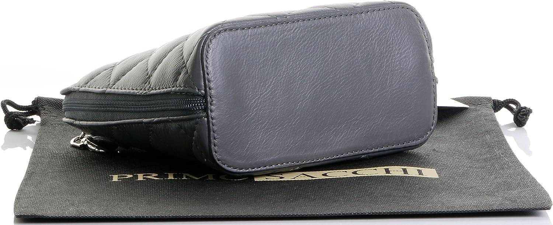 Primo Sacchi/® Sac /à bandouli/ère en cuir italien petit//micro fabriqu/é /à la main avec cha/îne en m/étal et lani/ère en cuir comprend un sac de rangement protecteur