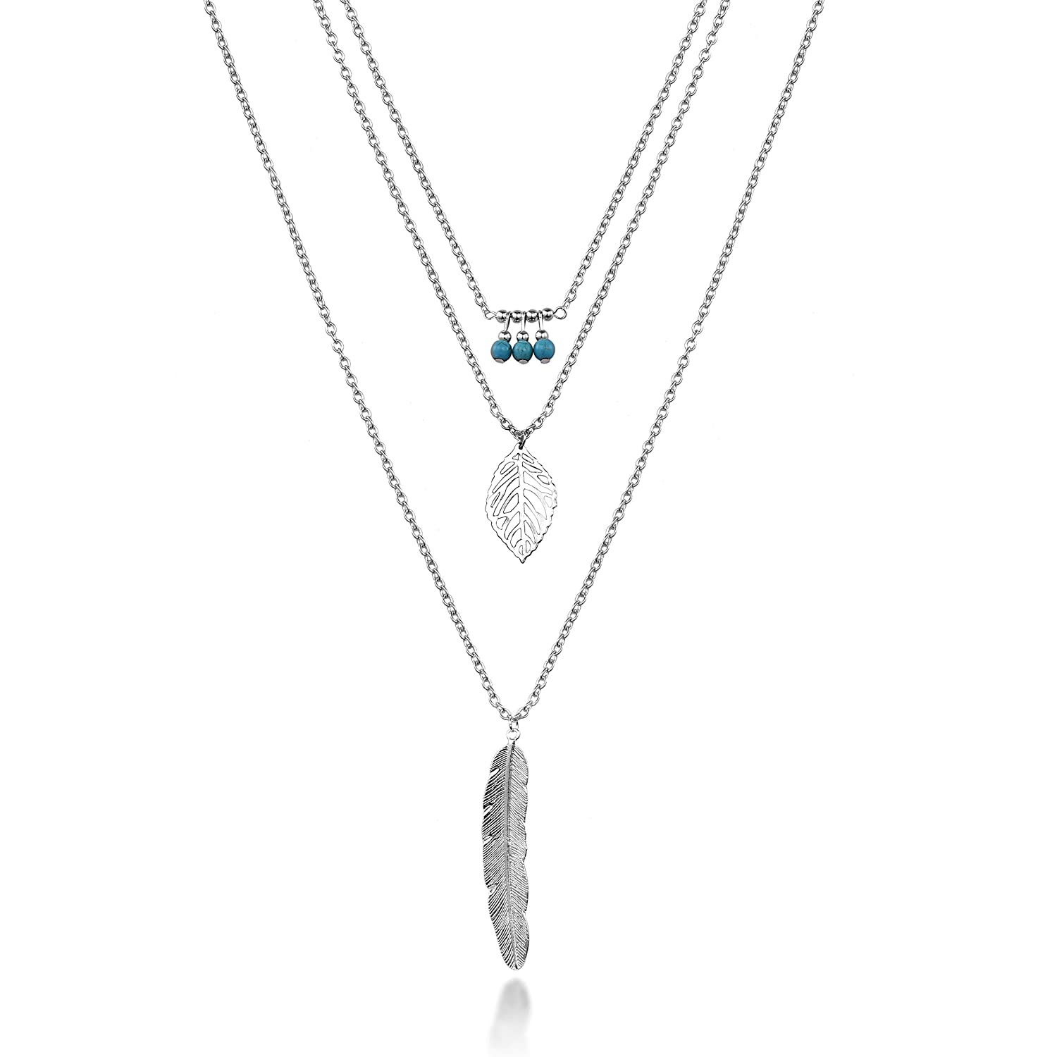 HYZ Boho Layered Necklace Pendant Moon Star Turquoise Feather Coin Chain Girls Women Jewelry Set (pack of 6) K4Cf2XC