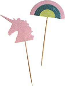 Unicorn Cupcake Topper   Glittery Food Skewers with Food-Safe Wooden Pick   Set of 24   Used for Cupcakes, Drinks and Party Decor   Fun Alternative to Drink Umbrellas