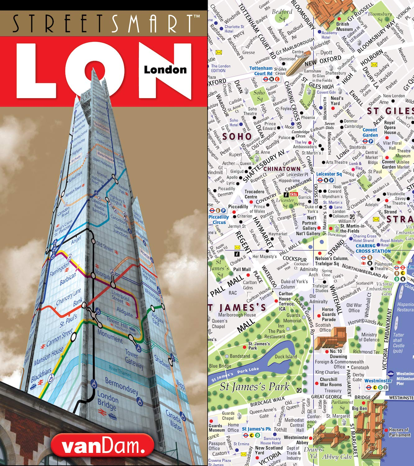 A Map Of London England.Streetsmart London Map By Vandam City Center Street Map Of London