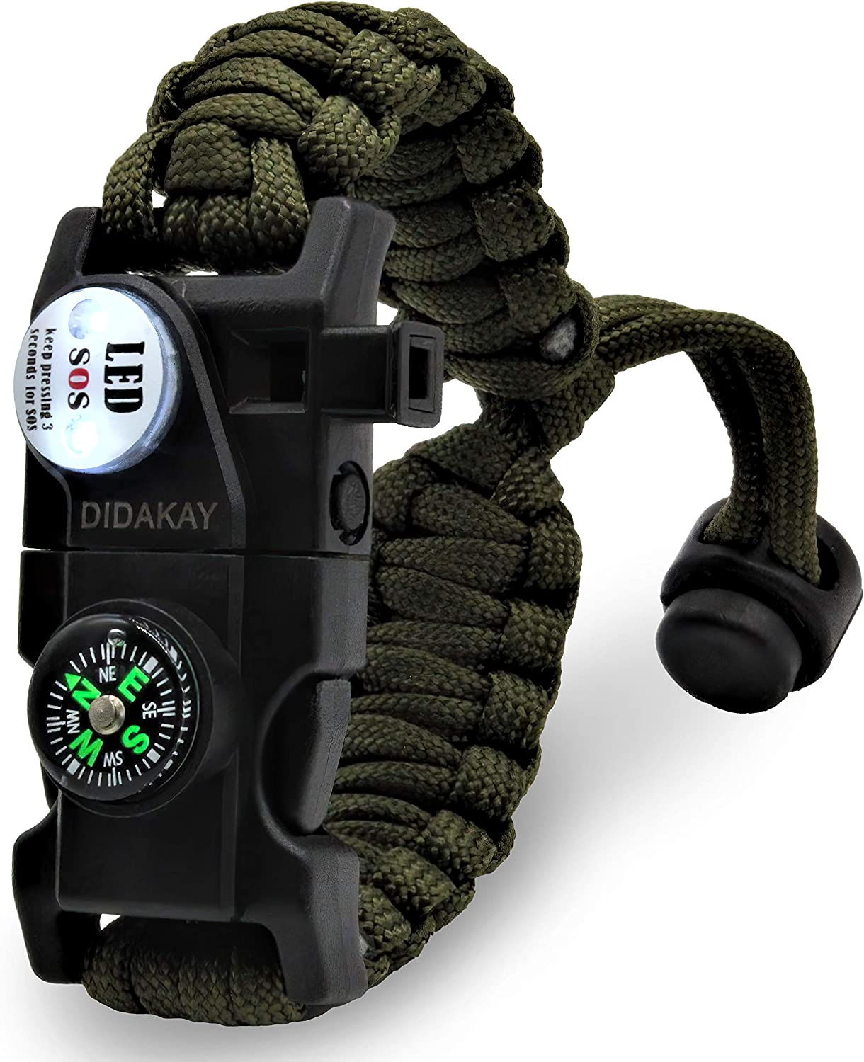 Didakay Paracord Knife Survival Bracelet, Fire Starter, Whistle, Compass
