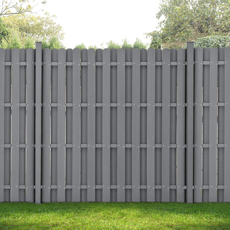 Neu Holz Wpc Gartenzaun Gerade Ausfuhrung Mit Pfosten 185x376cm